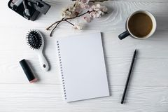 Office stationery, phone, notebook, coffee and pensil, writer stock photography