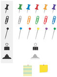 Office Stationery Pins and Clips royalty free illustration