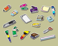 Office stationery sticker icons Royalty Free Stock Photography