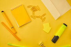 Office stationery supplies, macro view