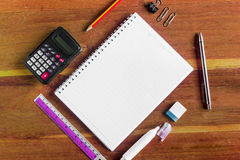 Office stationery on the table with copy space Royalty Free Stock Photos