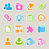 Office sticker icons set. Stock Photos
