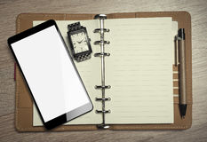 Office still-life and smartphone. Office still-life and smartphone Top view. Toned photo Royalty Free Stock Photography