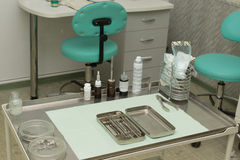 Office of the stomatologist with tools. Royalty Free Stock Image