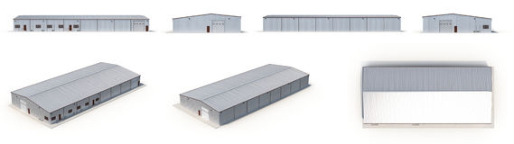 Office and Storage Warehouse Building renders set from different angles on a white. 3D illustration Royalty Free Stock Image