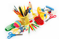Office and student accessories isolated. Royalty Free Stock Image
