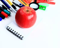 Office and student accessories on a white. Royalty Free Stock Image