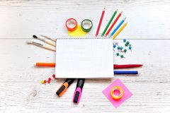 Office and student gear over white background. Back to school co Royalty Free Stock Photo