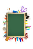 Office and student tool with blackboard over white royalty free stock photo