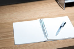 Office Study Desktop with Various Stationary Accessories Stock Photo