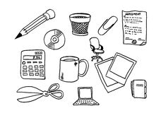 Office stuff. Sketches. In B/W Stock Photography