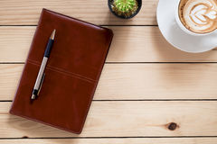 Free Office Stuff With Leather Notebook, Stock Photos - 71203893
