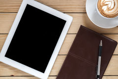 Free Office Stuff With Leather Notebook Royalty Free Stock Photos - 71203908