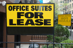 Office Suites for Lease. A sign advertising Office Suites for Lease, in New York City Stock Photo
