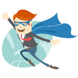 Office superman flying in front of his working place Royalty Free Stock Images