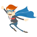 Office superman flying Stock Photo