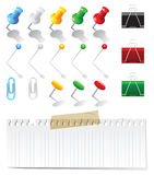 Office supplies. Set over white background stock illustration