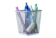 Office supplies. In a Basket over a white Background Stock Images