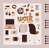 Office supplies. Modern office supplies icon collection vector illustration Royalty Free Stock Photos