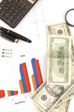 Office supplies. Business decision with calculator and business charts Royalty Free Stock Image
