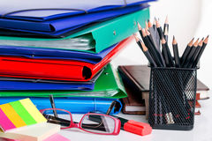 Office supplies. Accessories, documentary, blank on table Stock Photos