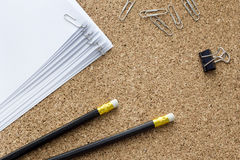 Office supplies. Black lie on cork board Stock Images