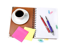 Office supplies and coffee cup Stock Image