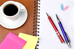 Office supplies and coffee cup Stock Photography