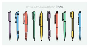 Office supplies collection. Pens set. Writing tools. Outline style. Ballpoint thin line vector icons. Biro, Fountain pen Stock Images