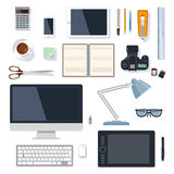 Office supplies collection on white. Modern and traditional office supplies vector collection on white vector illustration
