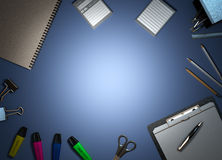 Office supplies on colored background 3d render Royalty Free Stock Images