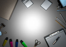 Office supplies on colorless background 3d render Royalty Free Stock Photos