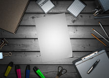 Office supplies on colorless wooden background 3d render Stock Images