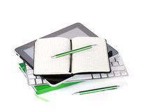 Office supplies and computer devices Royalty Free Stock Image
