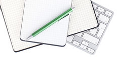 Office supplies and computer keyboard Stock Photo