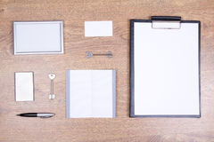 Office supplies with copyspace and keys on the table Stock Photo