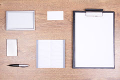 Office supplies with copyspace on the table Royalty Free Stock Photo