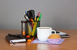 Office supplies and cup of coffee Stock Photo