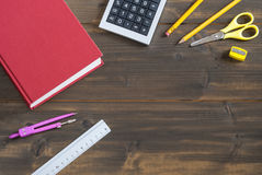 Office supplies on desk, back to school, paper. Office and school supplies on desk Royalty Free Stock Photography