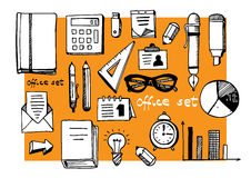 Office supplies and equriment set Stock Photos