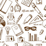 Office supplies and equriment set seamless Stock Photo