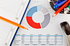 Office supplies and financial document with chart Royalty Free Stock Photos