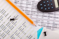 Office supplies and financial documents Royalty Free Stock Image