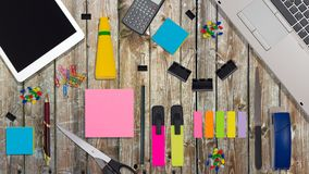 Office Supplies in Flat Lay Still on white background.  stock photos