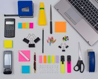Office Supplies in Flat Lay Still on white background royalty free stock photography