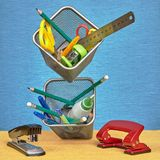 Office supplies floating in air under conditions of zero gravity Royalty Free Stock Photo