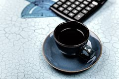 Office supplies, gadgets and coffee cup on wooden table Royalty Free Stock Photo