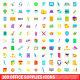 100 office supplies icons set, cartoon style Royalty Free Stock Photography