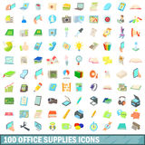 100 office supplies icons set, cartoon style. 100 office supplies icons set in cartoon style for any design vector illustration Stock Photo