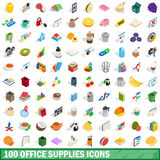 100 office supplies icons set, isometric 3d style Stock Photos